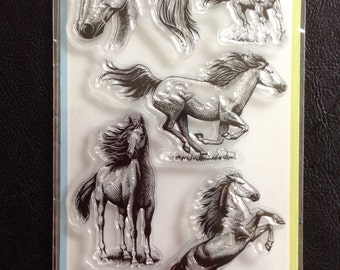 Clear Stamps, Horses, 6 Pieces Total, Scrapbooking, Card Making, Inkadinkado