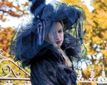 Enchanting Halloween Witch Hat Fancy Costume Accessory - One Size - Black