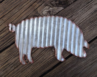 Galvanized Metal Pig Industrial Wall Decor Rustic Farmhouse Country Decoration Corrugated Steel Barnyard Primitive Sign Accessory