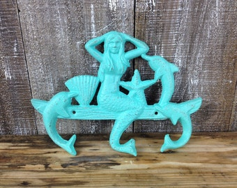 Cast Iron Mermaid Hook Teal Blue Dolphin Towel Hanger Nautical Bedroom Bathroom Laundry Hooks Coastal Sitting Mermaid Wall Decor Poolside