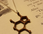 Chocolate - Theobromine Laser Cut Walnut Necklace - Molecule Necklace - Nerdy Gift for Her