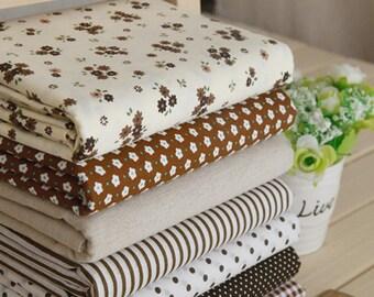Brown series floral dot stripe cotton fabric bundle patchwork fabric bundle Quilted bundle doll's clothes fabric fat quarter  (7pcs/set)