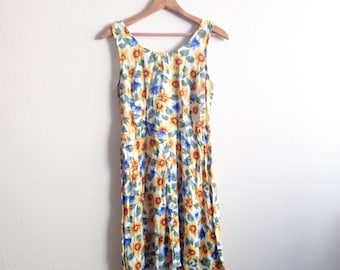 90s SUNFLOWER DRESS / vintage rayon all that jazz floral spring summer small medium festival sun floral flowers