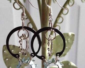 Washer Earrings, Unique Jewelry, Unique Earrings, Dangle Earrings, Handmade Jewelry, Fashion Jewelry, Metal Earrings, Steampunk Jewelry,