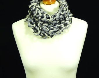 Hand knitted light grey and white infinity scarf neck warmer.