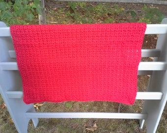 Red Afghan, travel size baby afghan, crocheted red afghan, red baby blanket, red baby afghan, nb photo prop, christmas red afghan, red