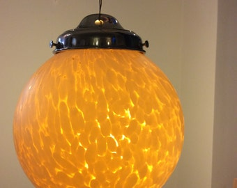 Vintage hanging light, marbled glass globe