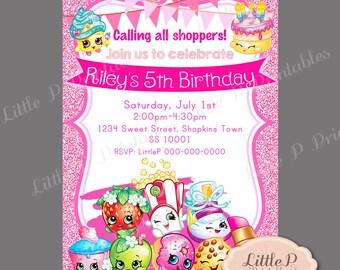Shopkins Invitation. Shopkins Invite. Pink Glitter Sparkle Invitation. Girl Birthday Popular Invitation. Shopkins Cute Characters 001