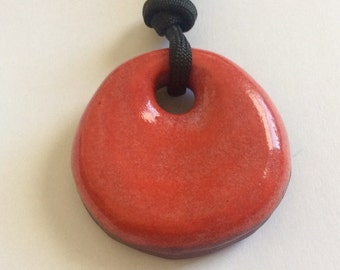 Red round pendant / Large carved crescent moon on reverse side/ Hand carved ceramic necklace/ Statement pendant with 2 sides/ DIY component