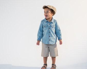 Baby Boy Hat Brushed Khaki Flat Cap | General