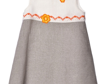 Girls Dress. Girls Linen Dress.