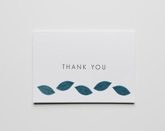 Thank You Leaves Letterpress Card
