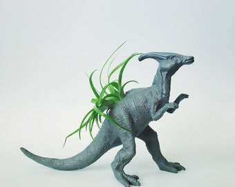 Large Pewter Parasaurolophus Dino Planter with Air Plant; Dinosaur Planter; Parasaurolophus Dinosaur Planter Air Plant Included; Tillandsia