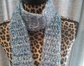 Blue and White Crochet Scarf, Blue Scarf, White Scarf,  Light Blue, Meduim Blue, Spring, Narrow,Skinny
