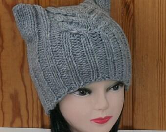 Cat Ear Hat Knit Cat Ear Hat Cat Beanie Womens Knit Hat Cat Hat Cat Beanie,Wool/Acrylic, Knit ,  Cat ears