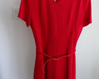 Vintage red dress with jacket and belt