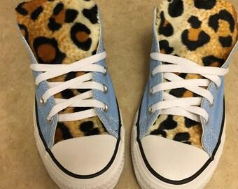 Leopard Print Converse Light Blue Shoes