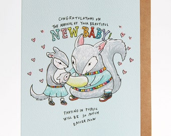 New baby card, funny new baby card, Congratulations baby card, 'Baby fart', handmade, hand drawn
