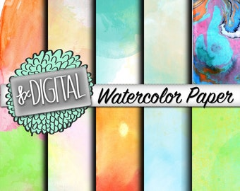Watercolor Paper - Watercolor Scrapbooking Papers, Watercolor Clip Art, Watercolor Digital Papers, Paint Papers, Craft Papers, Textured