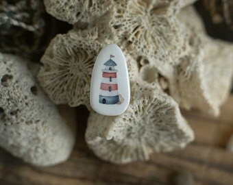 Lighthouse brooch - porcelain brooch with nautical watercolor illustration print