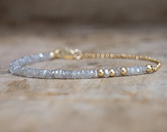 Raw Diamond Quartz Bracelet, Rough Diamond Quartz Gold Delicate Bracelet, Bridal Bracelet, Raw Grey Diamond Jewellery, April Birthstone