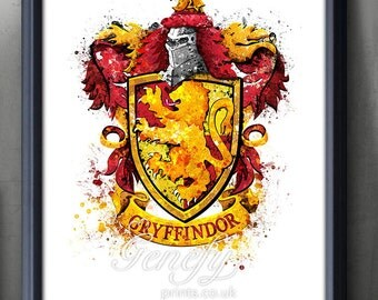 Harry Potter Gryffindor Crest Watercolor Art Poster Print - Wall Decor - Watercolor Painting - Watercolor Art  - Kids Decor - Nursery Decor