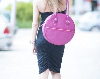 Leather Bag, Tote bag, Leather Purse, Leather Diaper Bag, Fuchsia Genuine Leather Tote Bag by EUGfashion