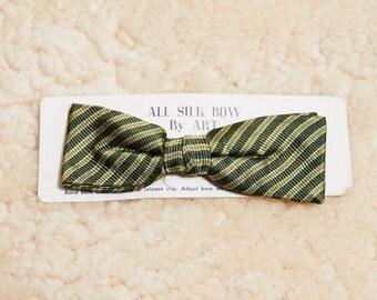 1950s Art Green Stripe Silk Clip On Bowtie