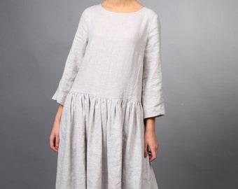 Linen tunic dress, handmade linen women's clothing