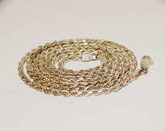 """Vintage Sterling Silver 24"""" Rope Chain 13g."""