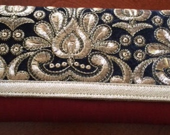 Silk Clutch with Gold Embroidery