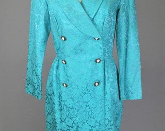Vintage 50s, 60s, Teal Brocade Jacket // 1950s, Tapestry Coat, 1960s Costume, Outerwear, Women's Size Small, Medium