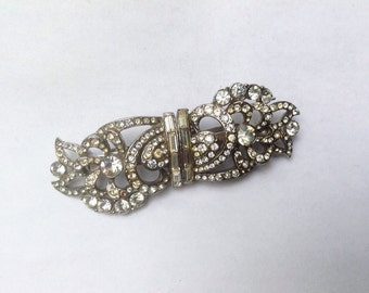 Vintage, Art Deco paste duette brooch, unclips to make two dress or shoe clips.