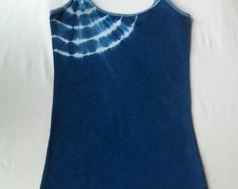 Women's Shibori indigo dyed scoop neck tank top size XS