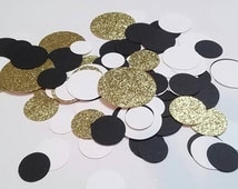 Black Gold and White Confetti | Graduation Confetti | Sophisticated Party | Glitter Confetti | Table Scatter | Circle Confetti