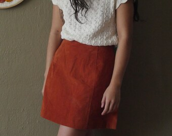 Burnt Orange Suede Mini Skirt