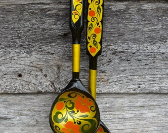 Painted Lacquered Wooden Spoons. Pair of French Vintage Folk Art Handpainted Decorative Ladles. Gypsy Boho Décor