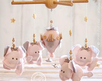 Baby Girl Mobile, Baby Girl Nursery Decor, Pink and Grey Nursery Decor, Elephant Nursery Mobile, Hot Air Balloon Mobile, FREE SHIPPING