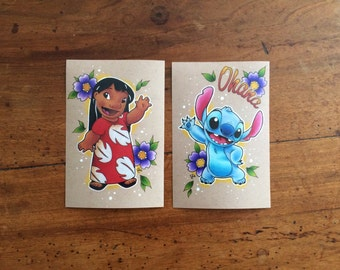 6 x 4 Pair of Lilo & Stitch Prints of Hand Drawn Design // Disney // Home Decor // Gift Idea // Gift for Woman