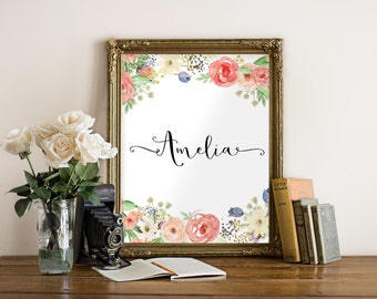 Personalized Sign, Custom Name Sign, Personalized Name Print, Custom Nursery Art, Custom Name, Personalized Name Signs, Customized Name