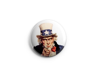 Uncle Sam 1.25 inch button or magnet, Party Favor, Fourth of July, Patriotic button, Uncle Sam pin
