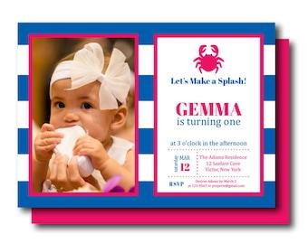 Preppy Crab Birthday Invitation, Beach Birthday Printable Invite (Photo Crab Birthday Invitation, Beach, Pool, Nautical Summer Birthday)