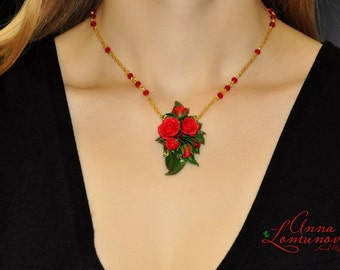 Red Green Jewelry Set Red Green Necklace Red roses Earrings Red roses Pendant Red roses Polymer clay jewelry set with roses Red Floral set