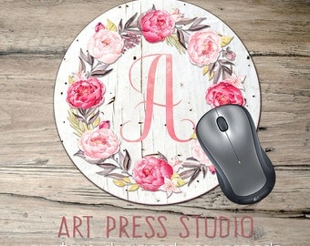 Pink Roses Mousepad, Monogram Initial Mousepad, Shabby Chic Roses on Wood Mouse Pad, Cottage Chic Wreath Mousepad, Boho Chic Mouse Pad