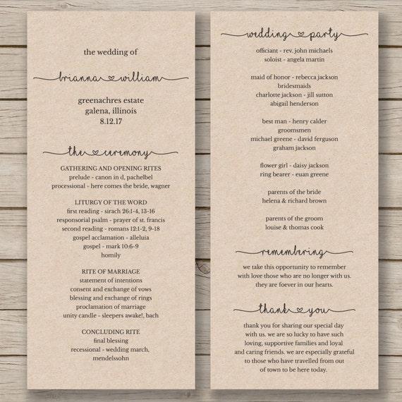 printable wedding program template order by