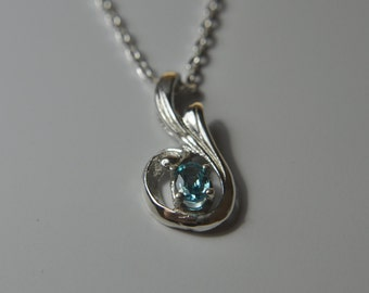 Sterling Silver and Blue Apatite Necklace