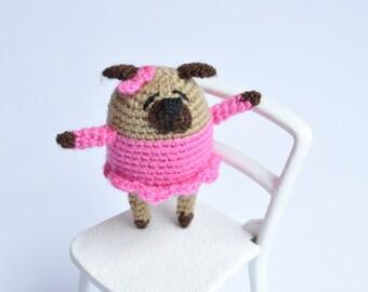 Miniature pug Crochet pug Amigurumi pug Crochet toy Crochet dog Crochet puppy Pug dog Cute dog Little pug Crochet animals Pug plush Pug doll