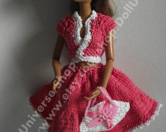 Handmade Pink Outfit for Barbie, Momoko,Fashion Royalty dolls.