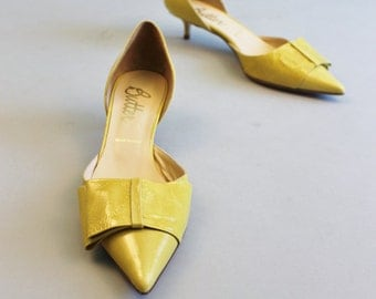 Butter Yellow Leather Kitten Heels