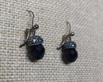 Vintage Beaded Earrings, Black